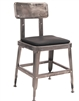Industrial Metal Clear Finish Chair with Black Cushion
