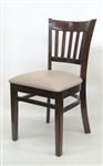 Vertical Slat Walnut Wood Dining Chair with Padded Seat
