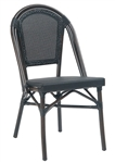 Dark Bamboo Aluminum Frame, Black Mesh with Braid Trim, Stack-able, and Foot Glides