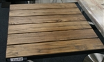 Teak Slat Wood Outdoor Tabletop w/ Black Metal Edge