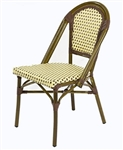 Rattan Bistro Dining Chairs: Creme/Brown