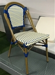 Rattan Bistro Ivory Navy Dining Chairs