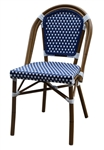 Rattan Bistro Side Chair: Navy Blue/Ivory Weave